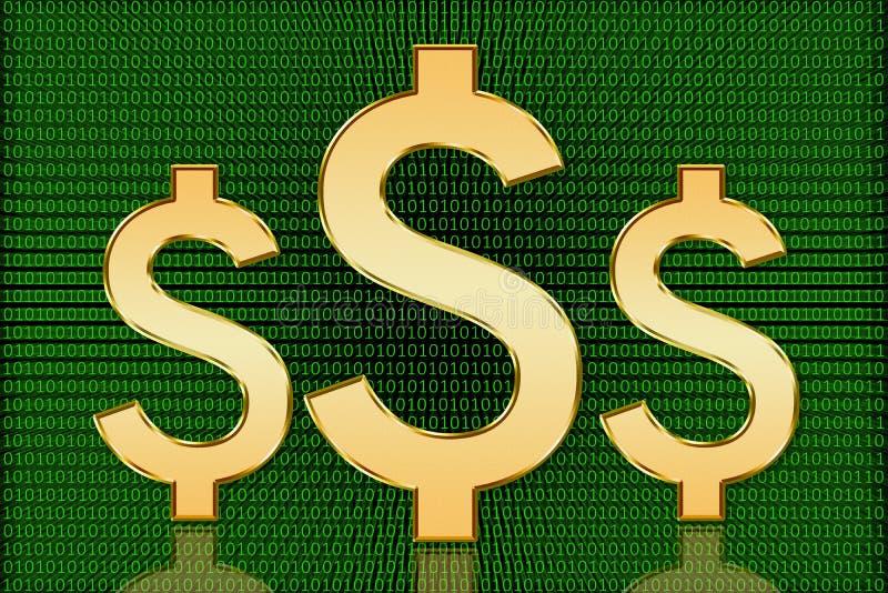 Guld- dollarsymboler för USA Digital - Digital valuta royaltyfria bilder
