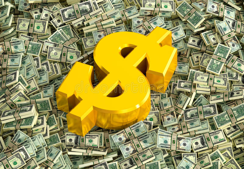 Guld- dollartecken stock illustrationer