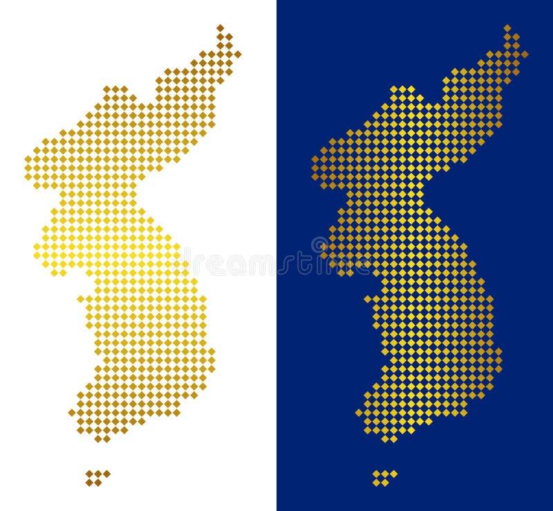 Guld- Dot North And South Korea översikt royaltyfri illustrationer