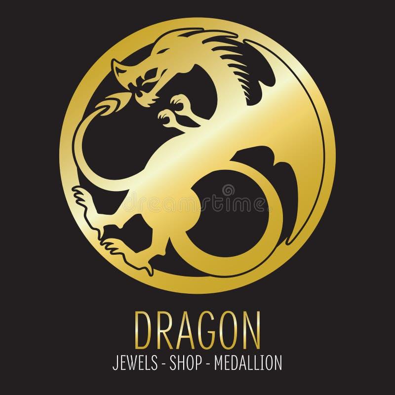 Guld- drakekontur royaltyfri illustrationer
