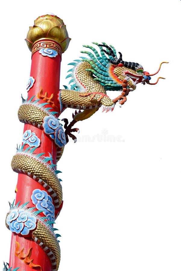 Guld- drakestaty för kinesisk stil som isoleras på vit royaltyfria foton