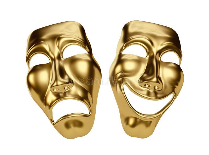 Guld- drama- och komedimaskeringar på vit Snabb bana royaltyfri illustrationer