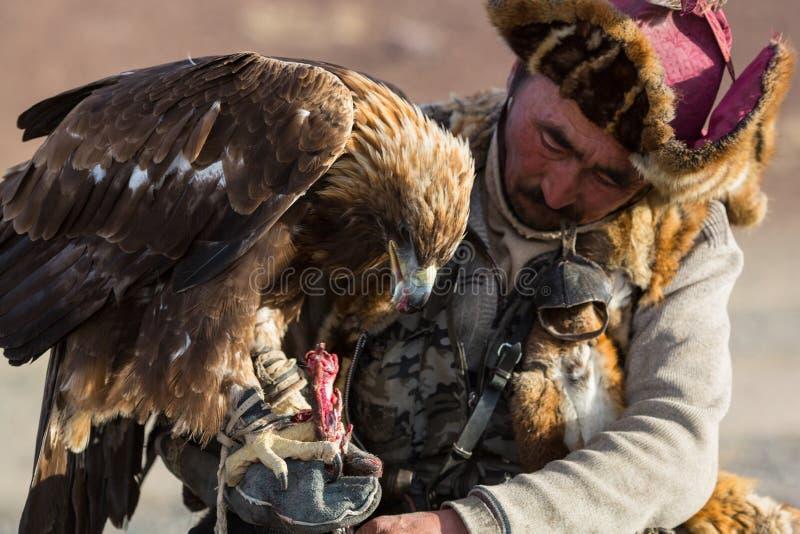 Guld- Eagle Hunter, medan jaga till den haren rymma guld- örnar på hans armar royaltyfria foton