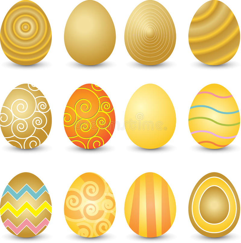 guld- easter ägg vektor illustrationer