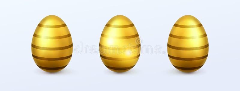 Guld- easter ägg med träskon vektor illustrationer