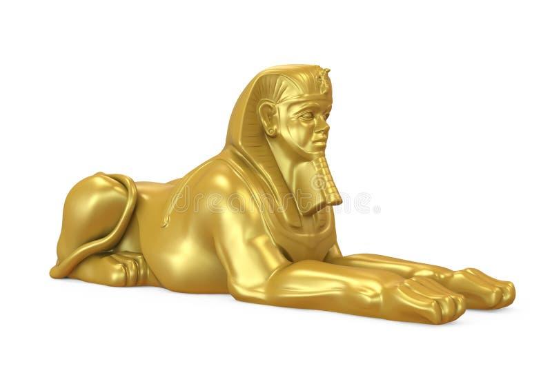 Guld- egyptisk isolerad sfinxstaty royaltyfri foto