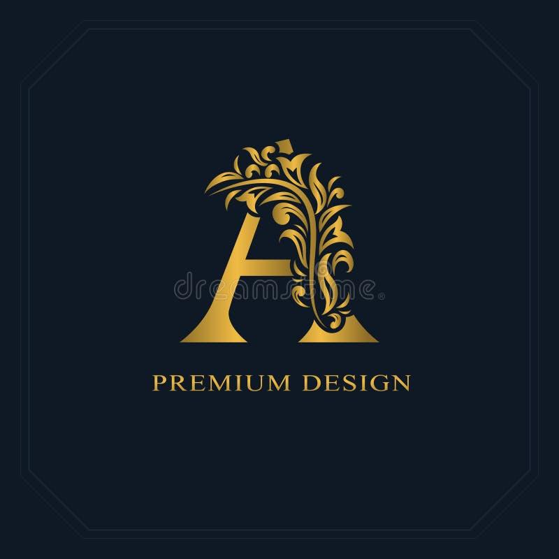 Guld- elegant bokstav A Behagfull stil Calligraphic härlig logo Tappning dragit emblem för bokdesignen, märkesnamn, affärsbil royaltyfri illustrationer
