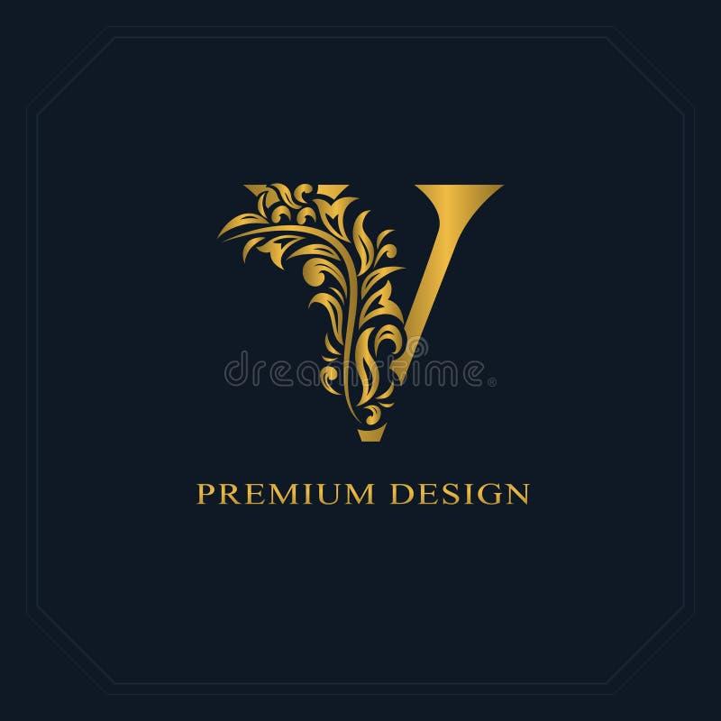 Guld- elegant bokstav V Behagfull stil Calligraphic härlig logo Tappning dragit emblem för bokdesignen, märkesnamn, affärsbil royaltyfri illustrationer