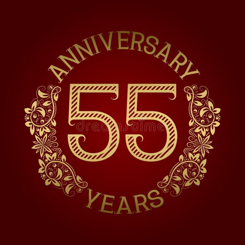 Guld- emblem av femte årsdag femtio Mönstrat tecken för beröm på rött royaltyfri illustrationer