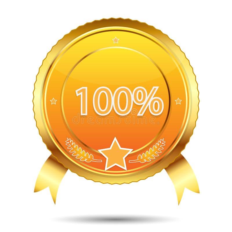 guld- etikett för guarantee 100 vektor illustrationer