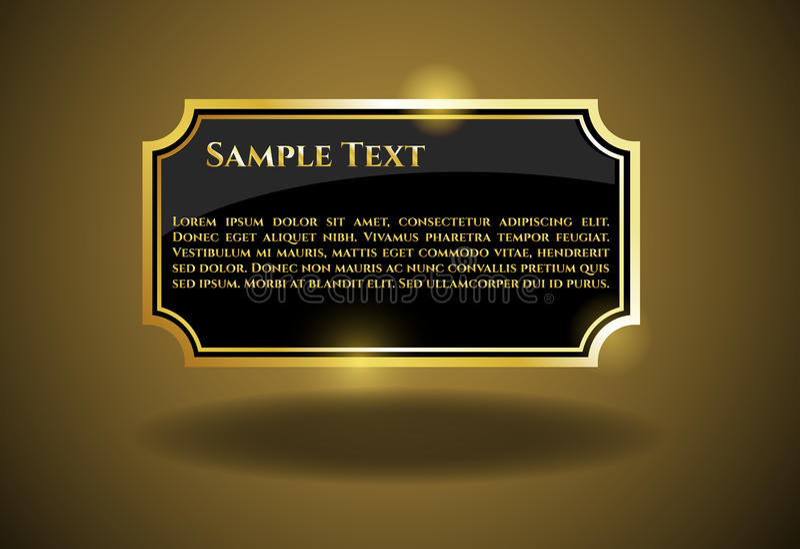 Guld- etikett med prövkopiatext royaltyfri illustrationer