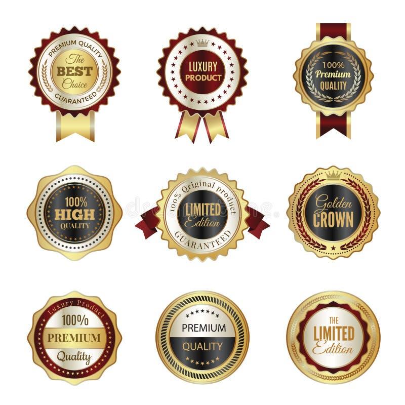 Guld- etikettemblem Design för vektor för mallar för stämpel för högvärdig servicekrona lyxig bästa prima av kulöra logoer stock illustrationer