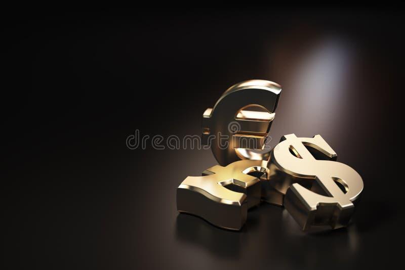Guld- euro-, dollar- och pundtecken Finansiell bankrörelsevaluta royaltyfri illustrationer