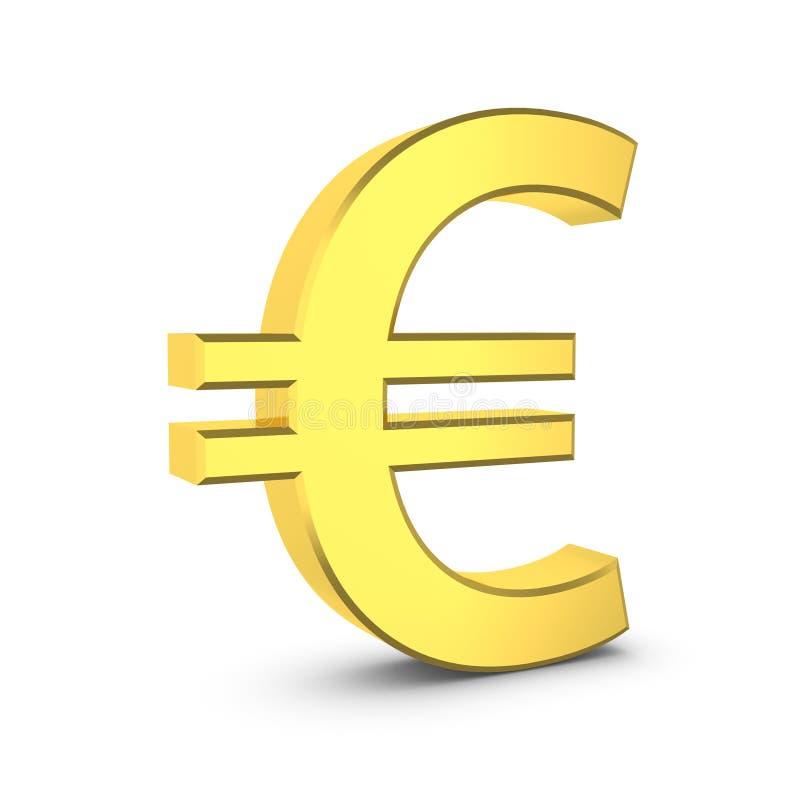 Guld- eurotecken på ett vitt royaltyfri illustrationer