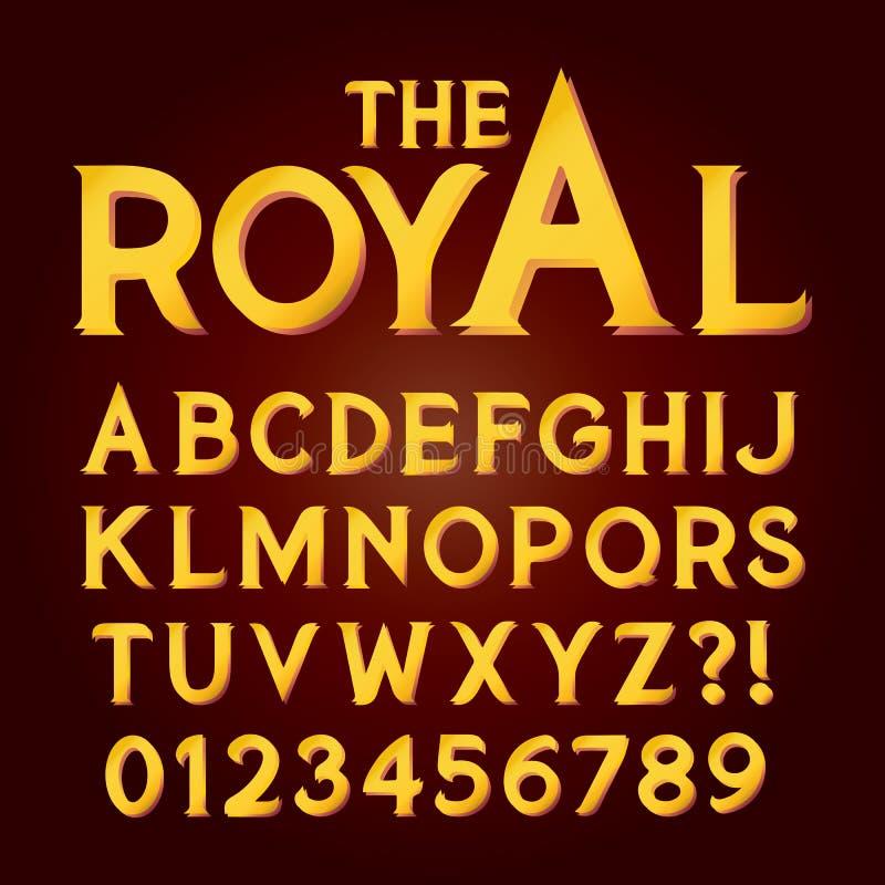 Guld- exklusivt lyxigt alfabet och nummer royaltyfri illustrationer