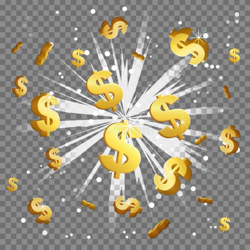 Guld- explosion för signalljus för lins för ljus stråle för dollartecken royaltyfri illustrationer