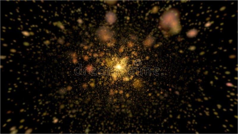 Guld- explosionstjärna för glans royaltyfri fotografi