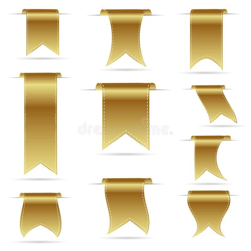 Guld- färg som hänger krökta bandbaner, ställde in eps10 royaltyfri illustrationer