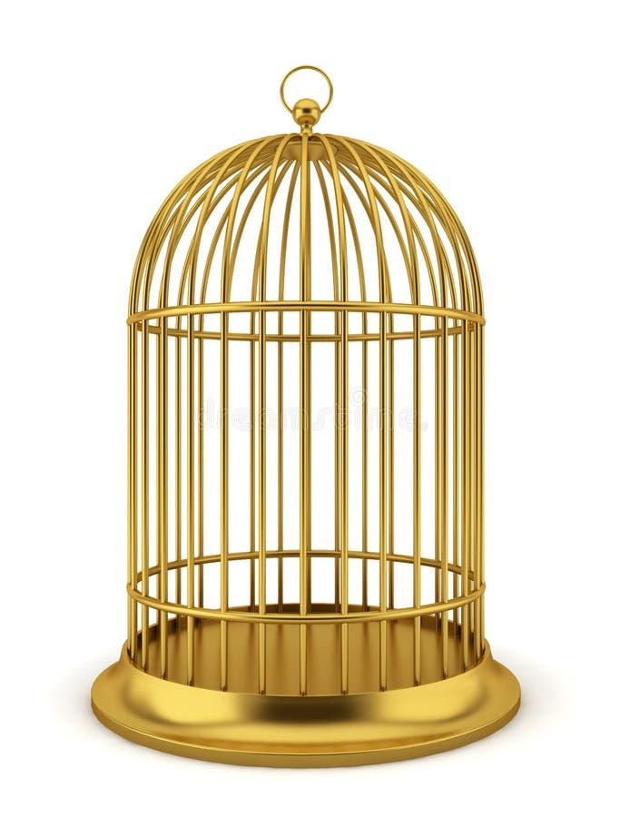 Guld- fågelbur royaltyfri illustrationer