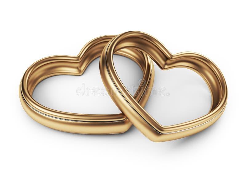 Guld- förälskelse två ringer. 3D som isoleras på vit vektor illustrationer