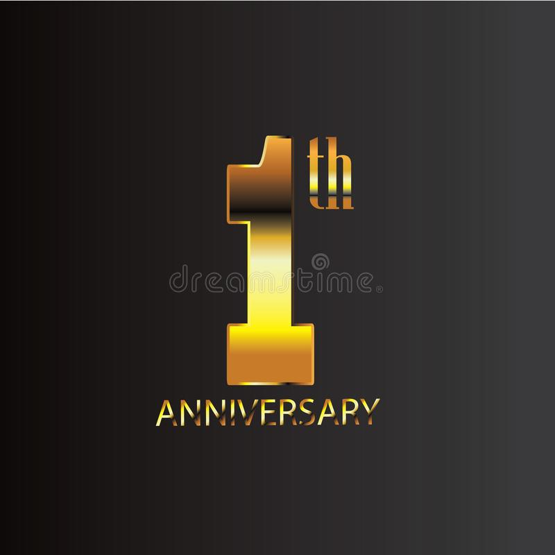 Guld för årsdagdesignsvart royaltyfri illustrationer