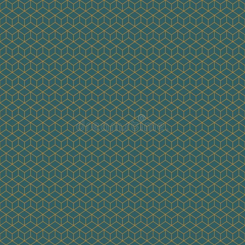 Guld för Art Deco Cubes Seamless Geometric vektormodell på kricka vektor illustrationer