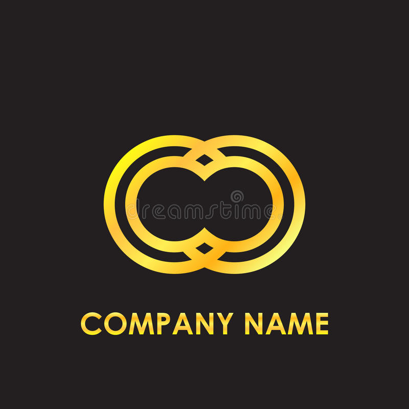Guld för CC för den initiala bokstaven reflekterade elegant den lilla logomallen i svart bakgrund arkivbilder