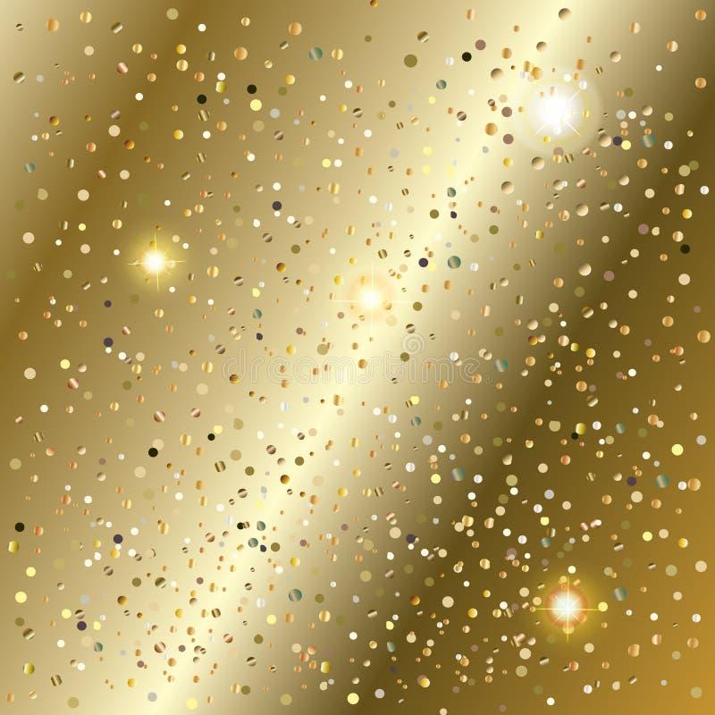 Guld för det nya året blänker konfettier och mousserar textur stock illustrationer