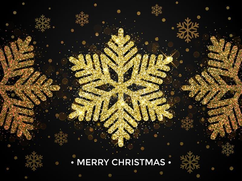 Guld för glad jul blänker snöflingahälsningkortet royaltyfri illustrationer