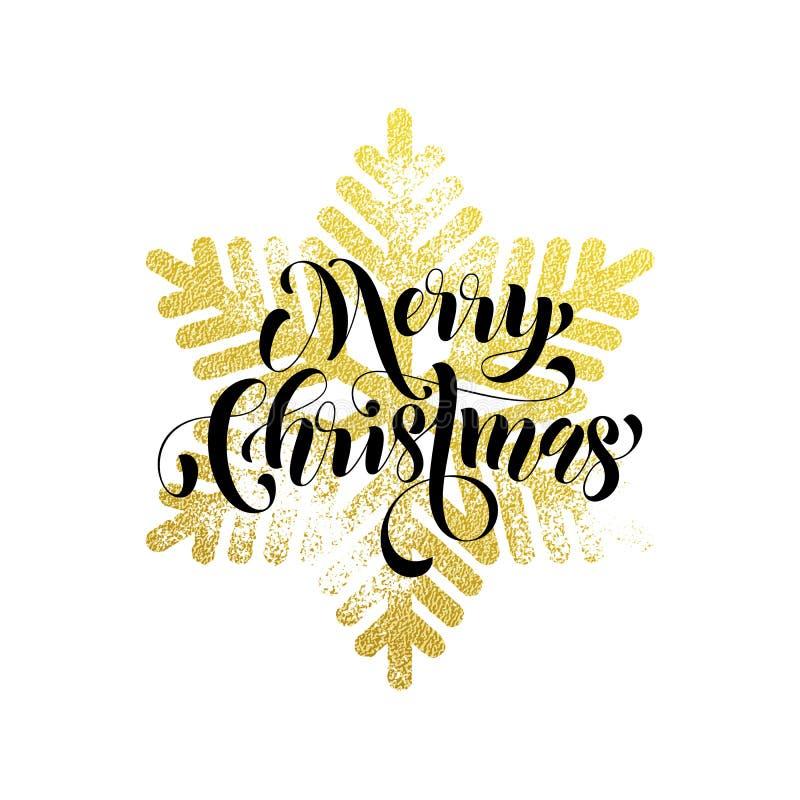 Guld för glad jul blänker snöflingahälsningkortet stock illustrationer