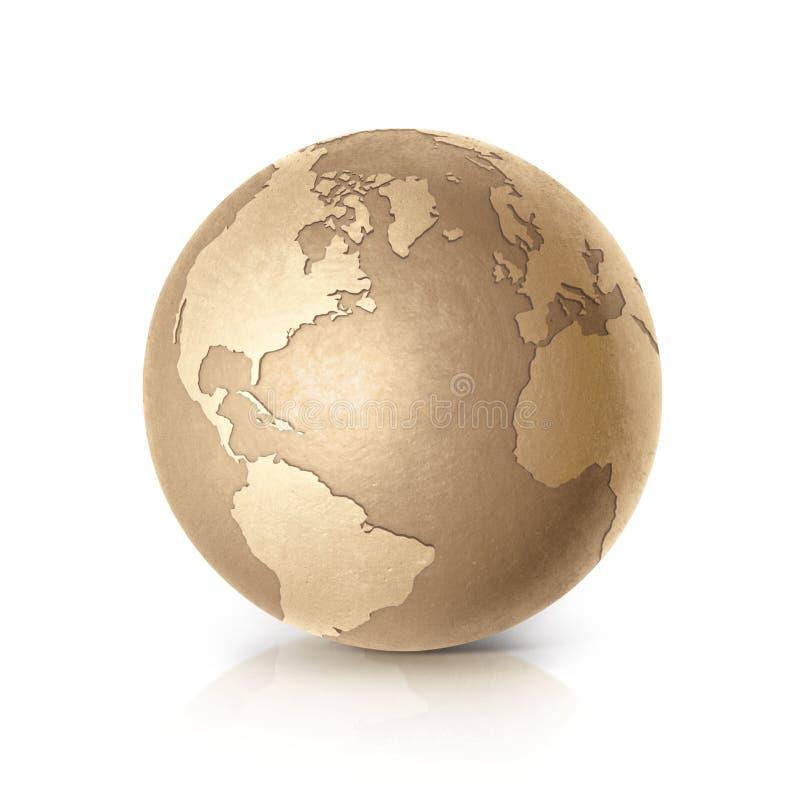 Guld- för illustrationnord och Sydamerika för jordklot 3D översikt vektor illustrationer