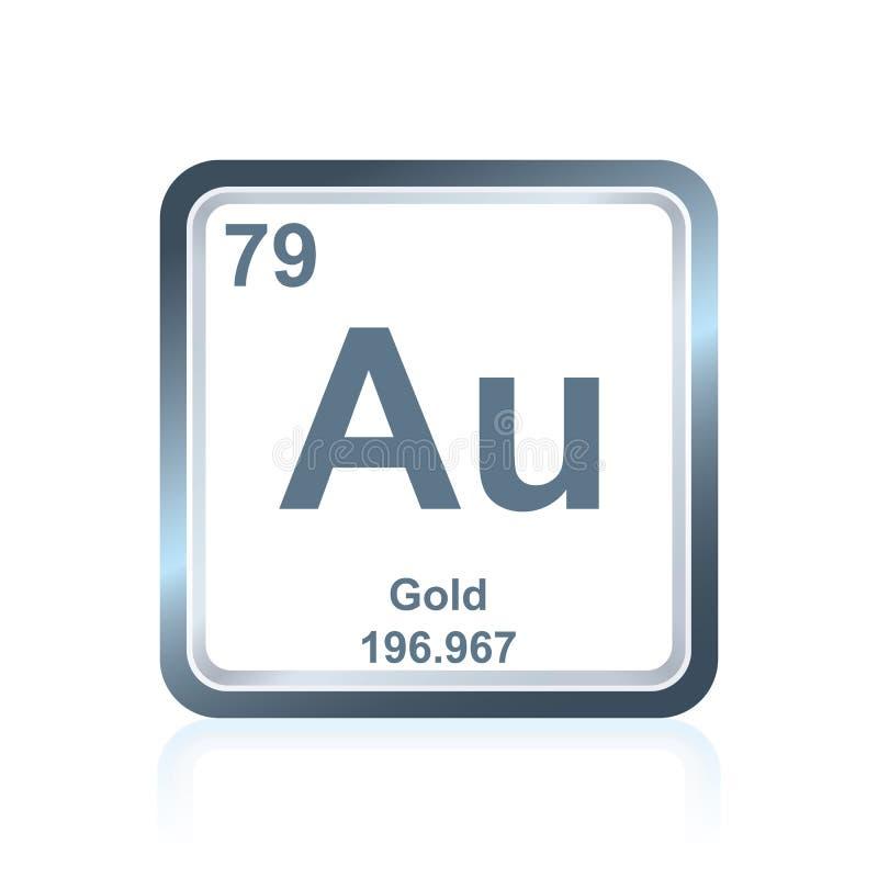 Guld för kemisk beståndsdel från den periodiska tabellen royaltyfri illustrationer