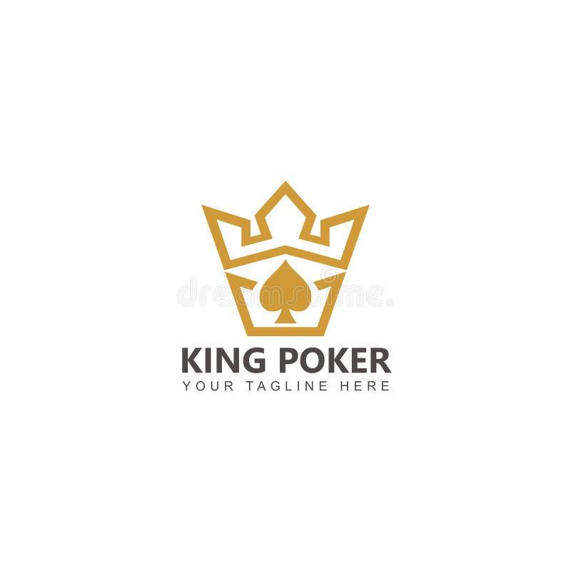 Guld- för logodesign för konung Poker vektor royaltyfri illustrationer