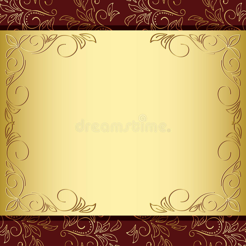 guld för ram för eps för bakgrund brun blom- vektor illustrationer
