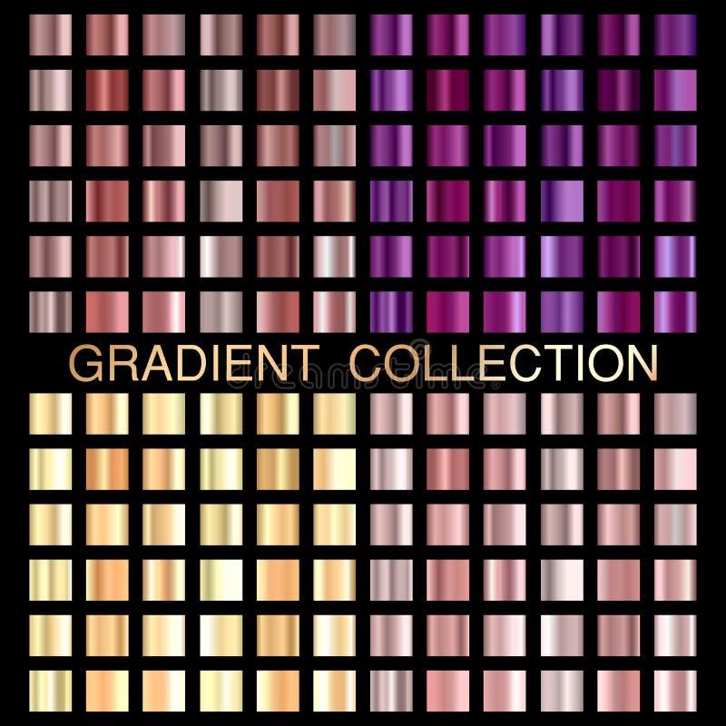 Guld för texturbakgrund för steg, ultraviolett och guld- folie uppsättningen vektor illustrationer