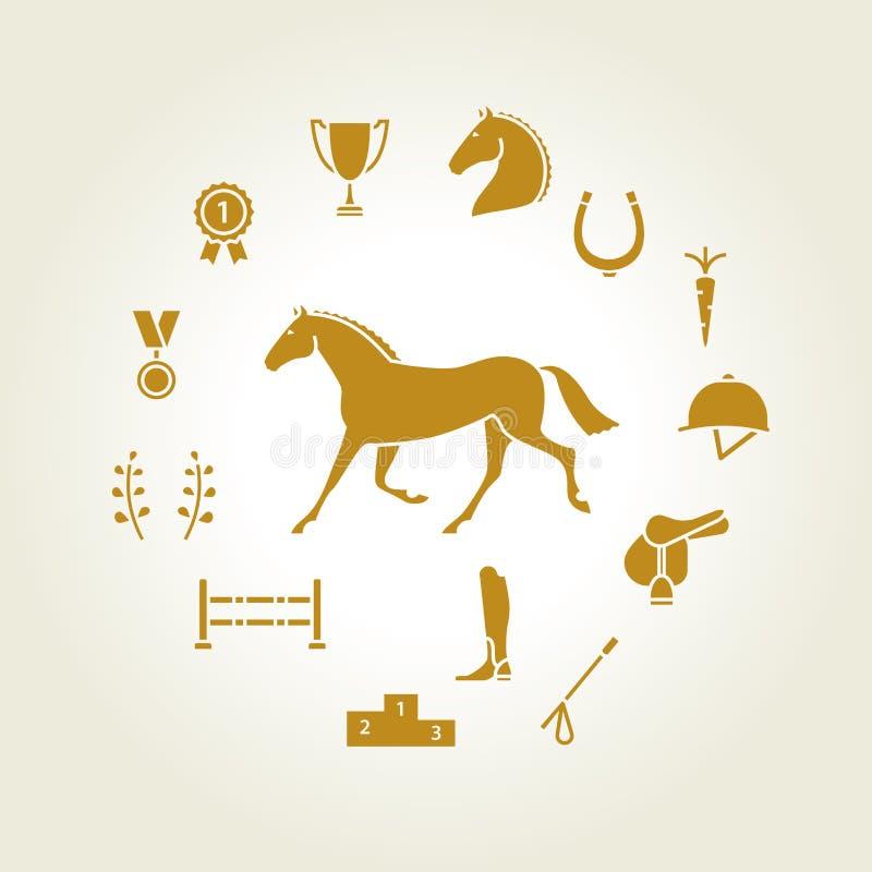 Guld för uppsättning för hästutrustningsymbol royaltyfri illustrationer