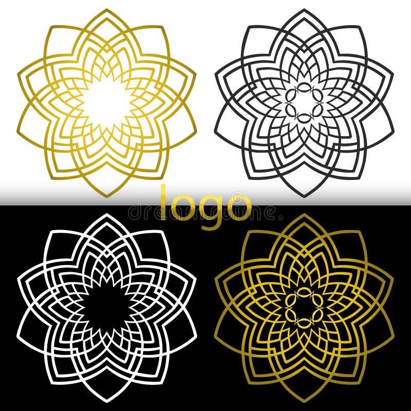 Guld- för vektordiagram geometriskt, vitt svart blommasymbol royaltyfri illustrationer