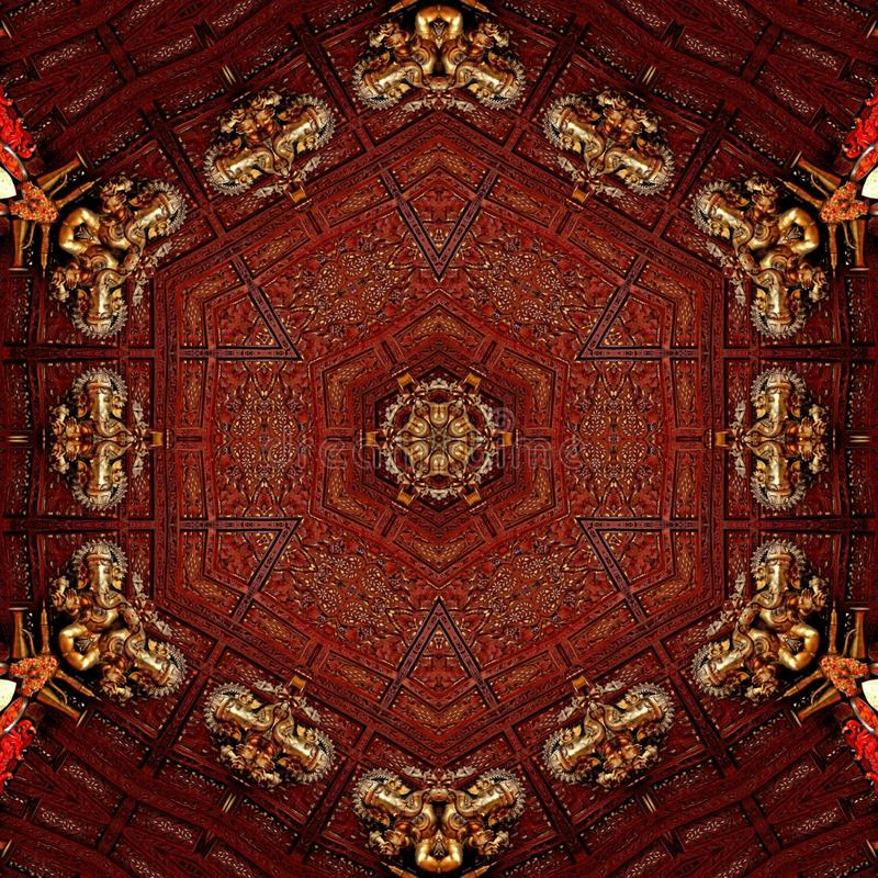 Guld- förebild för abstrakt ganpati för mandaladesignmall royaltyfri bild