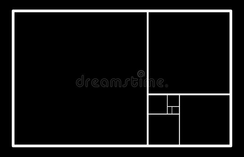 guld- förhållande Mall för konstruktionen av en spiral Konstruering av en sammansättning, en ideal proportion av proportionen mal vektor illustrationer