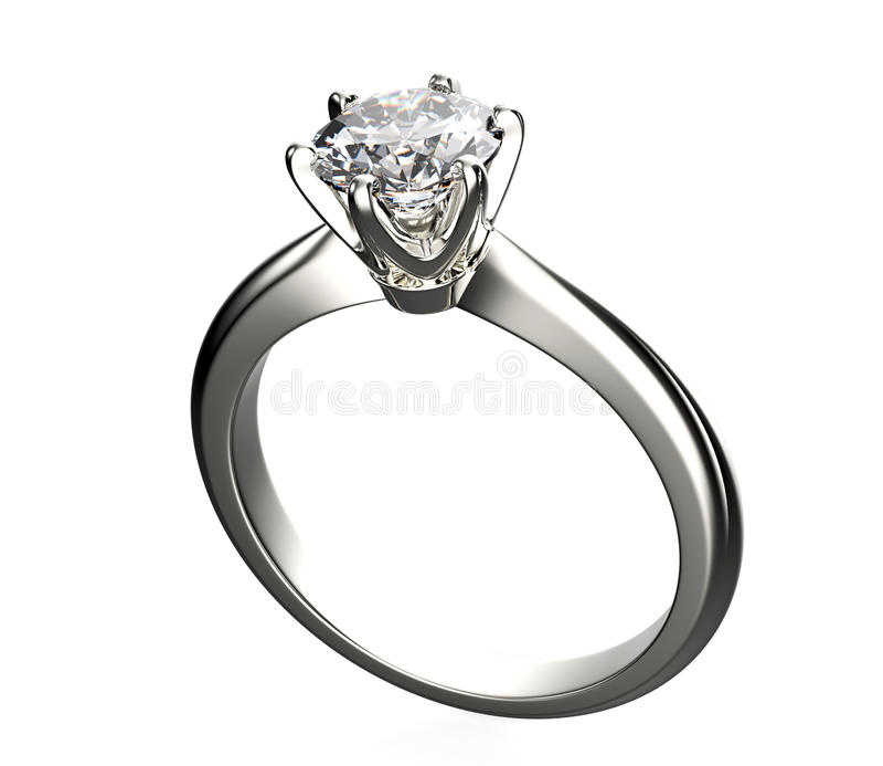 Guld- förlovningsring med diamanten arkivbild