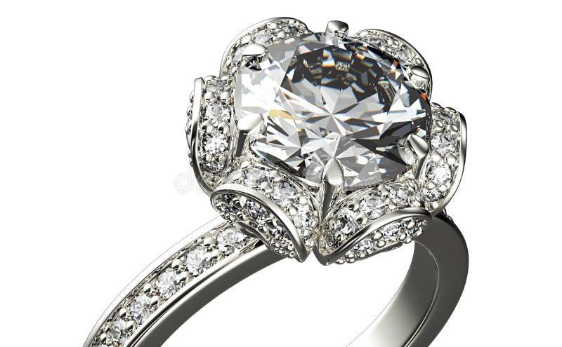 Guld- förlovningsring med diamanten vektor illustrationer