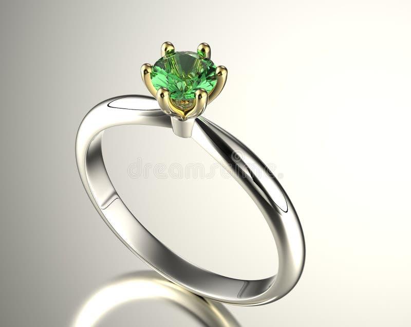 Guld- förlovningsring med diamanten royaltyfri illustrationer