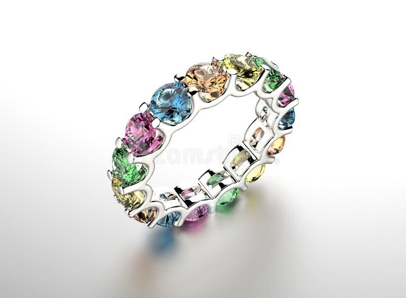 Guld- förlovningsring med diamanten stock illustrationer