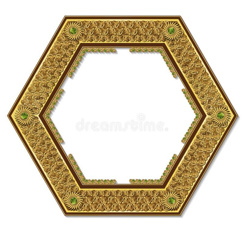 Guld- f?rg f?r ram med skugga royaltyfri illustrationer