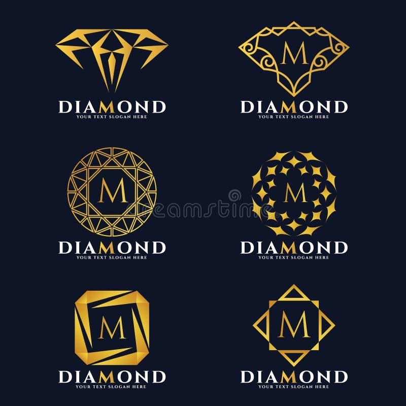 Guld- fastställd design för diamant- och smyckenlogovektor stock illustrationer