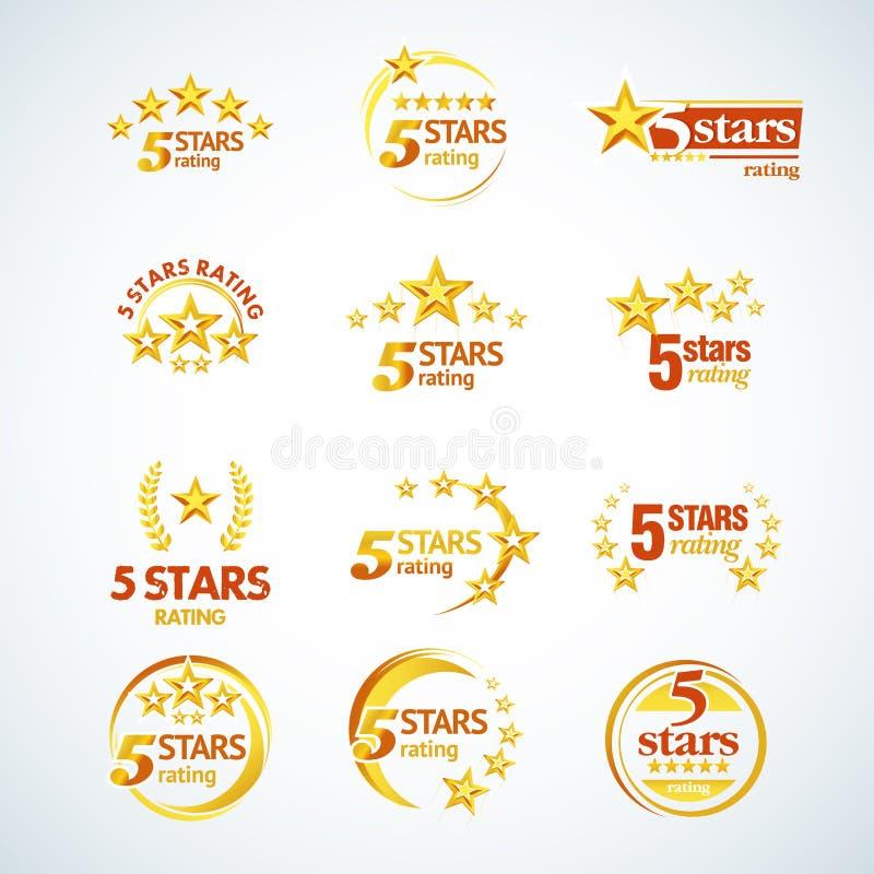 Guld- fem stjärnor rundar logomalluppsättningen också vektor för coreldrawillustration stock illustrationer