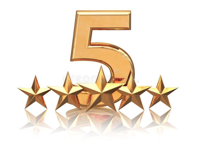 Guld- fem stjärnor Tjänste- värdering av hotell stock illustrationer