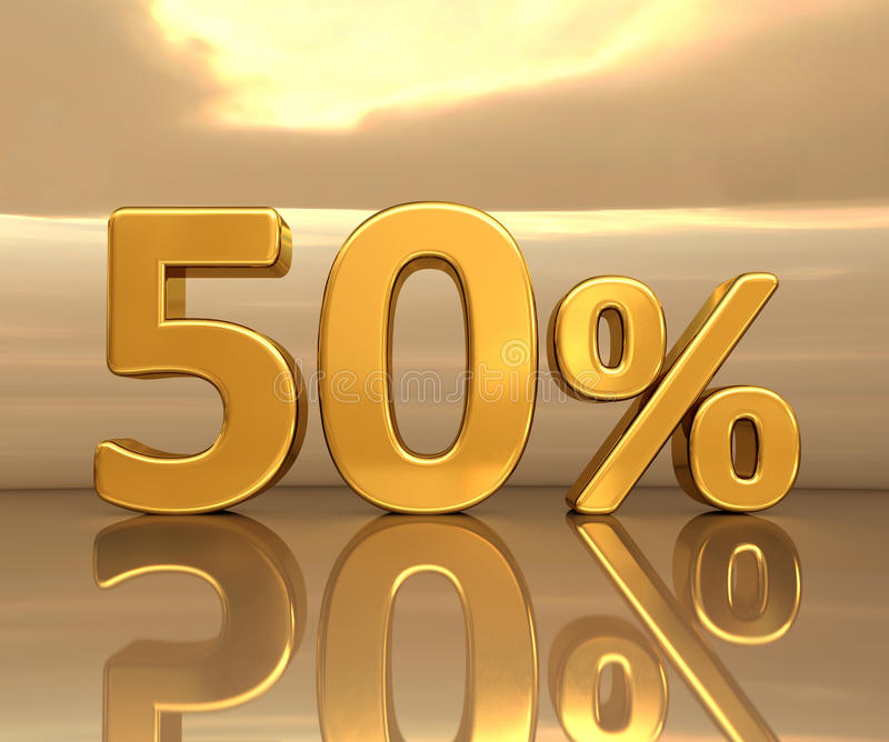 Guld 50%, femtio procent rabatttecken stock illustrationer