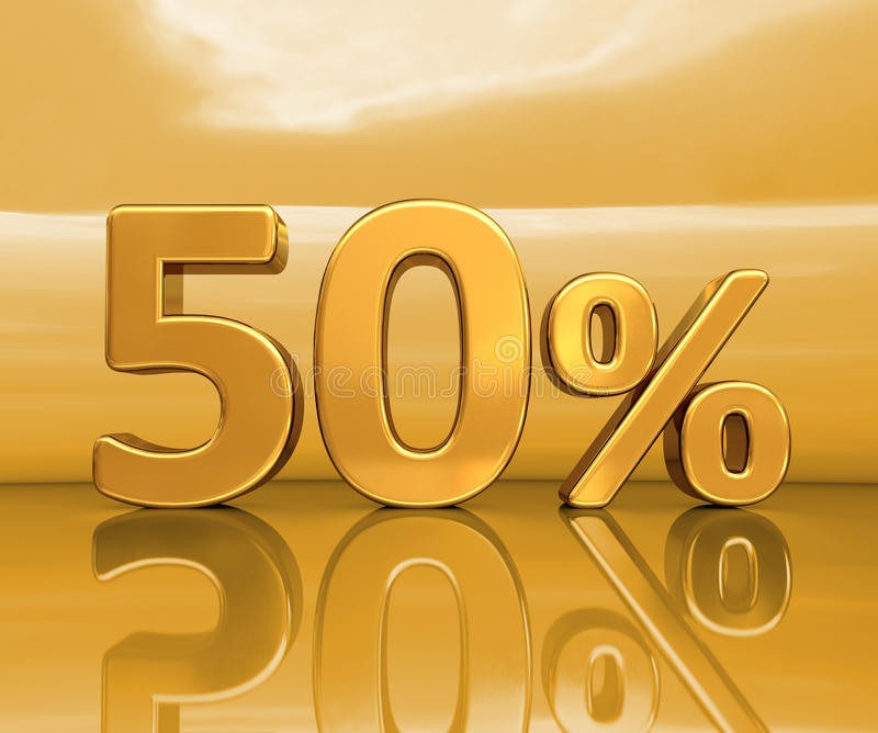 Guld 50%, femtio procent rabatttecken royaltyfri illustrationer