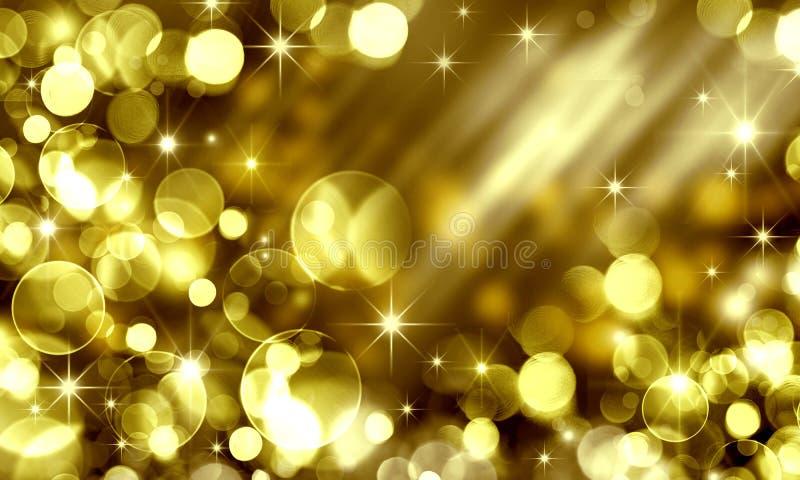Guld- feriebokehbakgrund, gulingcirklar, ferie som är lycklig stock illustrationer